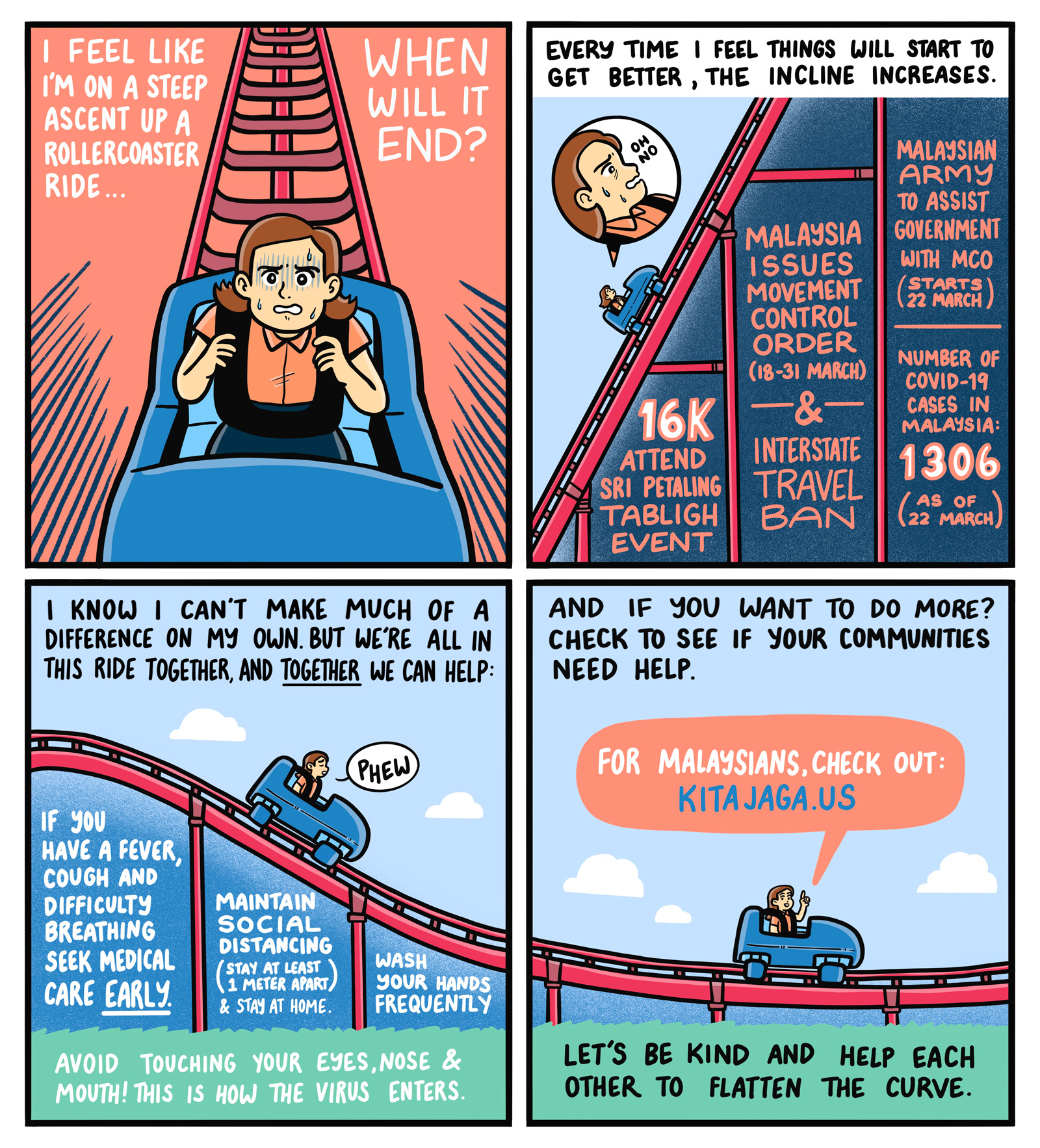 A comic about how society can help to flatten the curve of COVID-19 cases.