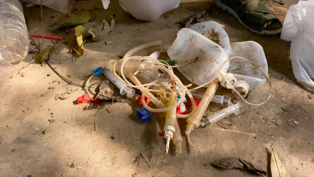 Medical waste found in the Cisadane River in Tangerang, Indonesia.