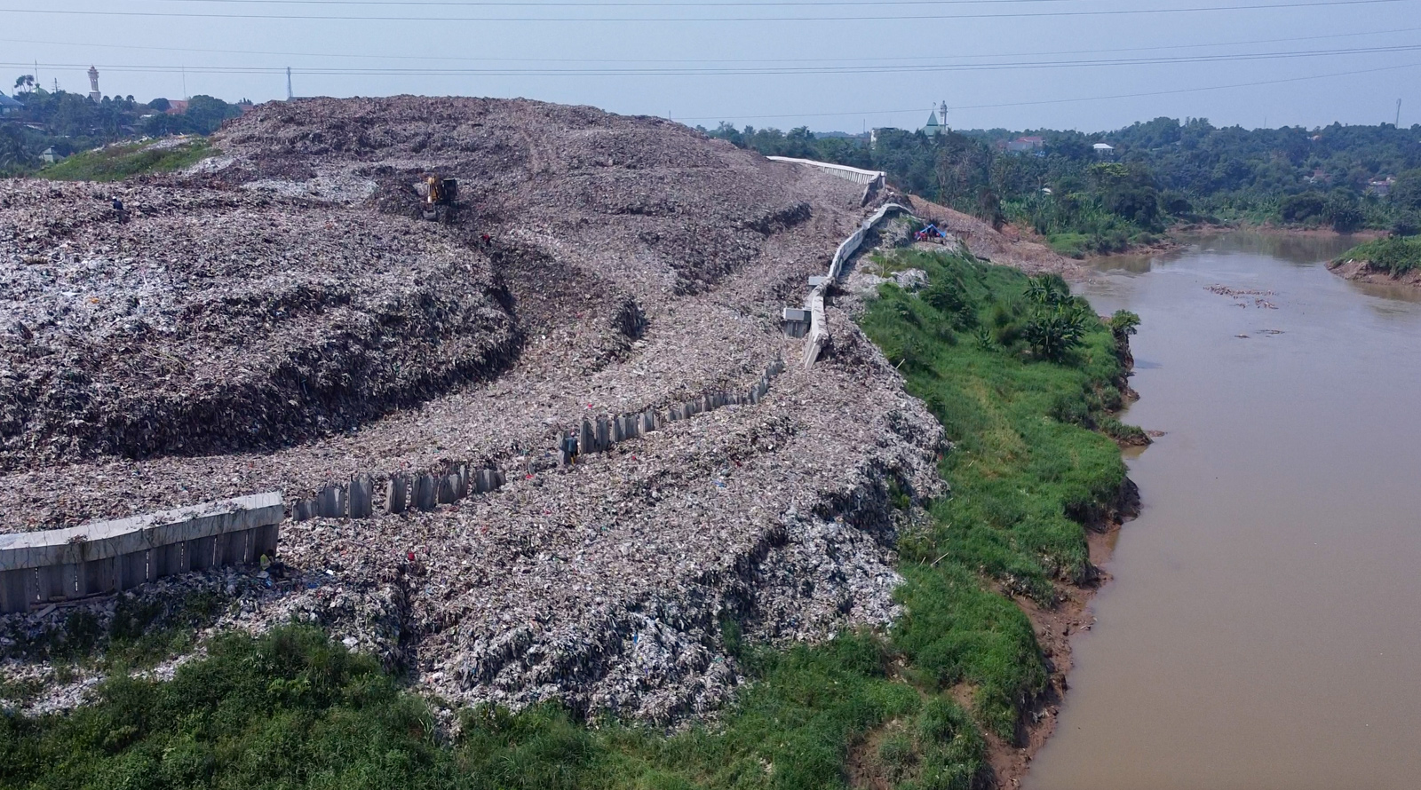 An aerial view of a waste landslide at the Cipeucang landfill in South Tangerang, Indonesia.