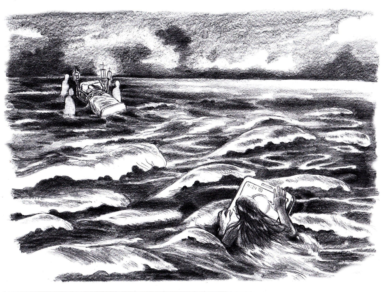 In a stormy sea, tossed by waves, a woman clings to a mobile phone to stay afloat. In the distance there is a hospital bed surrounded by nurses. Her grandmother lays on the bed. She is too far away to be reached.