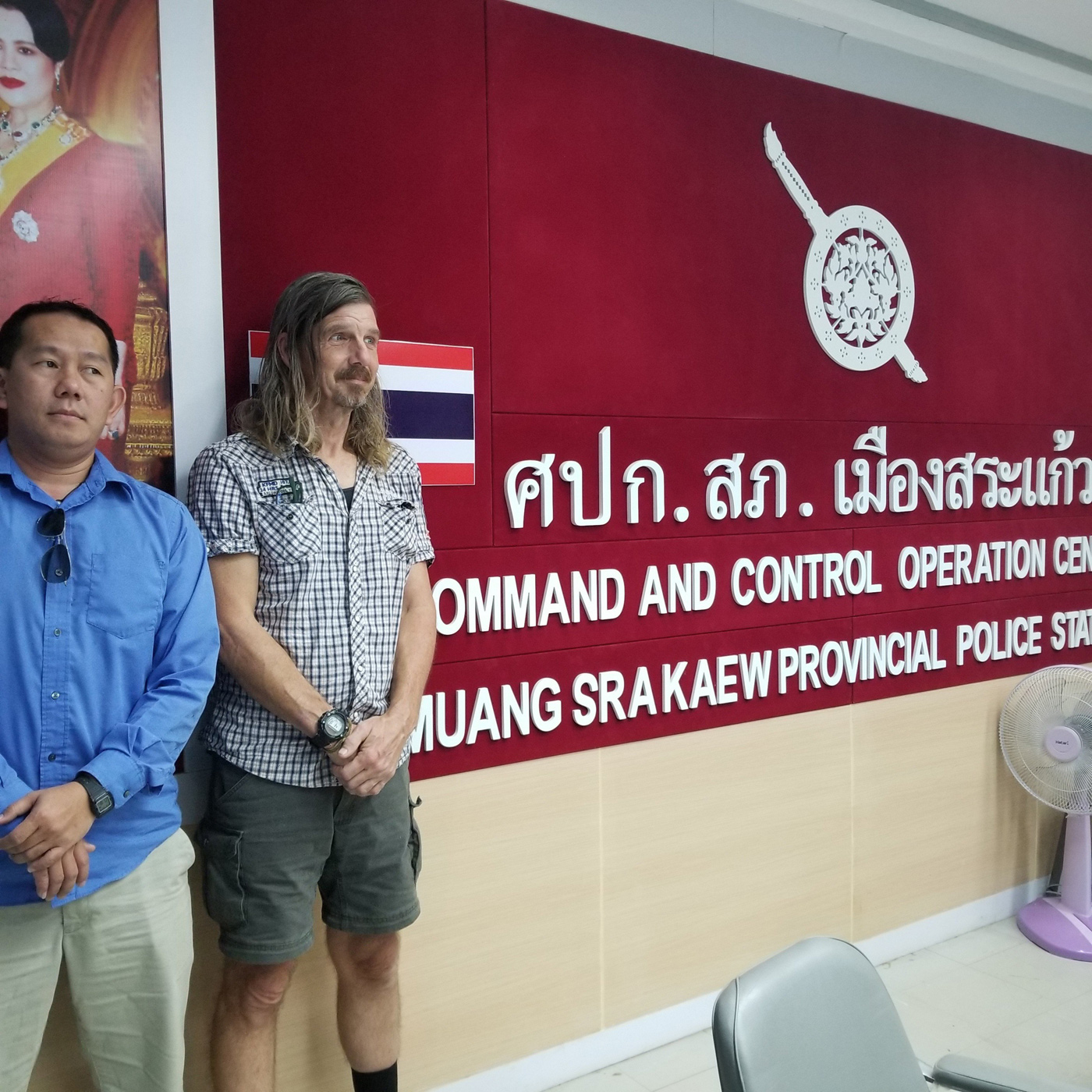 CNRP supporter Daley Uy and his friend Daniel Capka at a Thai police station in November 2019.