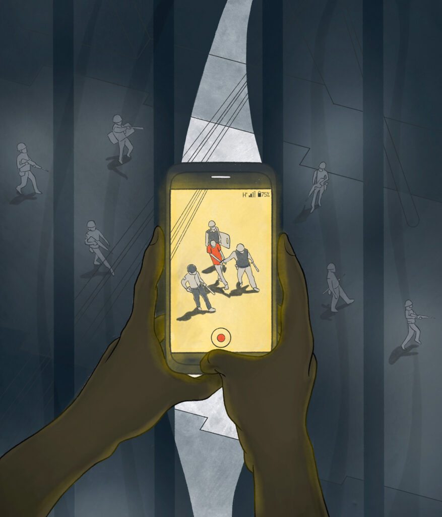 An illustration of a mobile phone being used to take video footage of soldiers arresting a protestor on the street. The person holding the phone is hiding behind drawn curtains, filming out of their window.