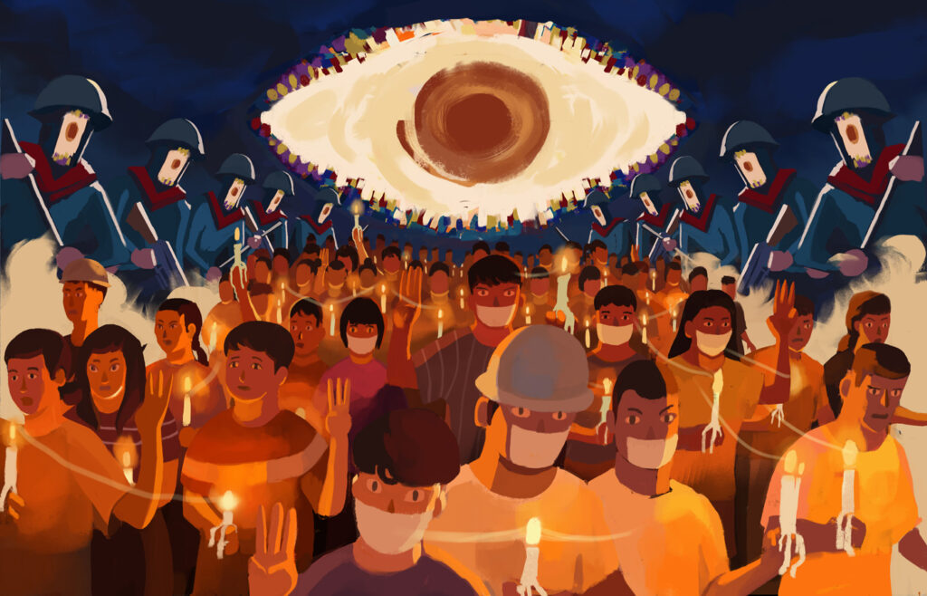 An illustration of protestors holding candles on the street. Riot police in armour surround them from the sides, and a large eye in the sky peers down on them.